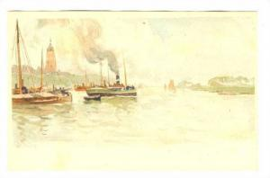 Arnhem , Netherlands, Art card-Harbour, 1890s