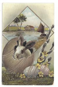 Vintage Easter Postcard Rabbit in Gilded Egg German Gel 1916