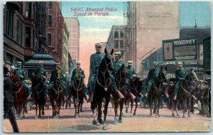 Vintage CHICAGO Illinois Postcard Mounted Police Squad on Parade 1911 Cancel