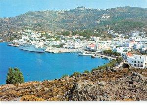 B109698 Greece Patmos Island View of Skala Chora Monastery Boat Panorama