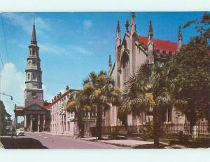 1957 Old Cars & French Huguenot Church Charleston South Carolina SC v5755