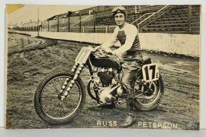 RPPC Motorcyclist RUSS PETERSON of Flint Mich 1940s Motorcycle Rare Postcard M16