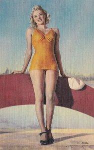 Pin Up Girl In Orange Bathing Suit sk5869