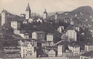 Bird´s Eye View of Luzern, Musegg, Switzerland, 00-10s