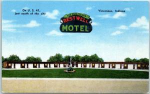 1950s Vincennes, Indiana Postcard RESTWELL MOTEL Roadside KROPP Linen Unused