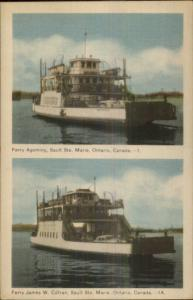 Sault Ste. Marie ON Ferry Boats Agoming & James Curran Old Postcard