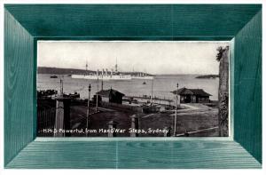 Ship H.M.S. Powerful, Man O'War Steps, Sydney Australia , Green Picture Frame
