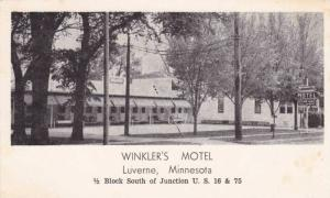 Street view showing the Winkler's Motel, Luverne, Minnesota,40-60s