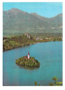 Slovenia Yugoslavia Lake Bled Island Julian Alps Pomurski Tisk 4X6 Postcard