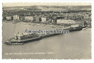 tq1062 - Aerial View of the Pier, Esplanade and Downs, at Eastbourne - postcard