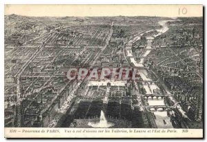 Old Postcard Panorama View of Paris has a straight on the Tuileries and the L...