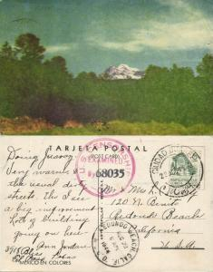 Mexico en Colores, Sent from Ciudad Juarez, US Censorship 68035 (1944) Postcard