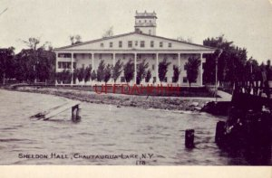 pre-1907 SHELDON HALL, CHAUTAUQUA LAKE, N.Y. cpyrt 1906 by Everett H Ketchum