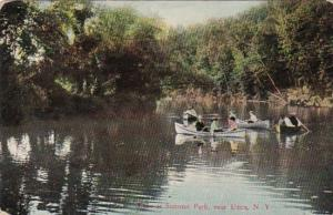 New York Utica Canoeing On Lake At Summit Park 1915