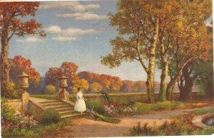 Lady walking in a park Nice vintage Swiss postcard