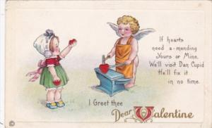 Valentine's Day Cupid Forging Heart On Anvil 1920