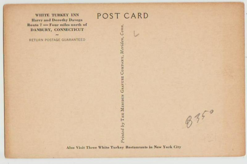 CT DANBURY WHITE TURKEY INN Postcard