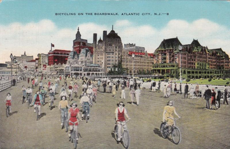ATLANTIC CITY, New Jersey, PU-1954; Bicycling on the Boardwalk