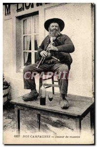 Old Postcard Folklore Player musette