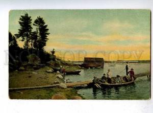 183874 FINLAND FISHING Lovisa Vintage postcard