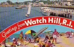 Rhode Island Watch Hill Greetings From Watch Hill Harbor Beach Scene