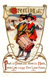New Year ,  Pilgrims , Drummer , Horn player , Poem