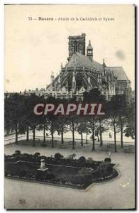Old Postcard Nevers Apse of the Cathedral and Square