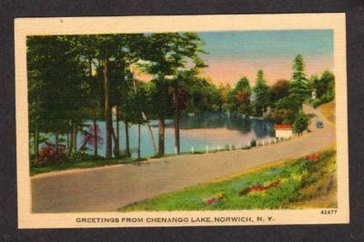 NY Greetings Chenango Lake NORWICH NEW YORK Postcard PC