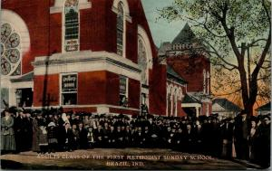 Brazil Indiana~First Methodist Church~Sunday School Adult Class Outside~1911 PC