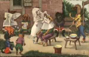 Dog Fantasy - Barber Shop Poodle Giving Bulldog a Shave Postcard jrf