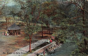 Brook & Park from Arch Bridge, Glen Ridge, N.J., Early Postcard, Used in 1908