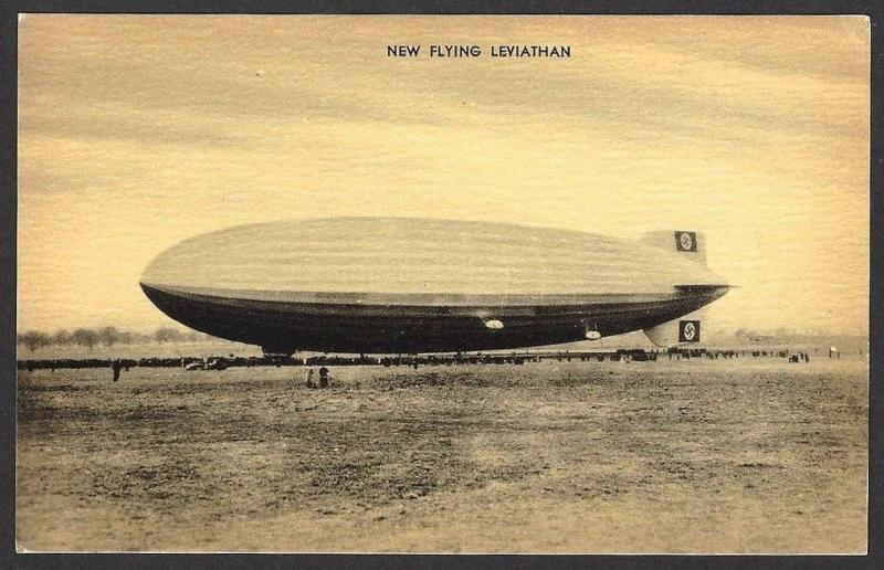 Airship Hidenburg New Flying Levethian vintage postcard Zeppelin