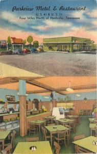 Nashville TN~Parkview Motel & Restaurant~Pinball Machine 1950s Postcard