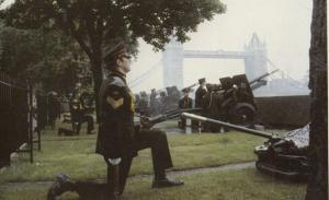 Military Salute Of Guns For Prince William at Tower Bridge Royal Postcard