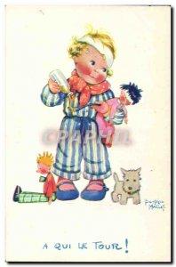 Old Postcard Fantasy Illustrator Child Beatrice Mallet Whose turn Dog