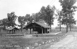 Sheldon Iowa~Hill's Park~Shelter House~Picnic Tables~Rock Lined Drive~1940s RPPC
