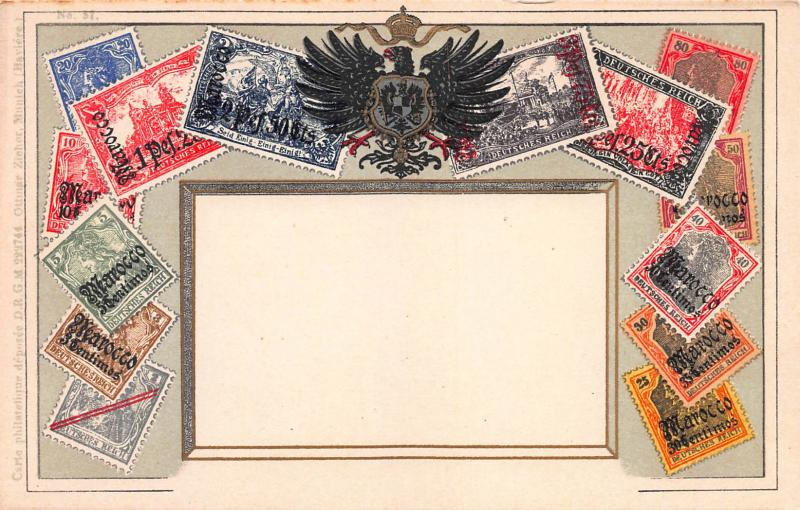 German P.O.s in Morocco, Classic Stamp Images on Early Postcard, Unused