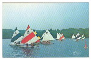 One of the weekly sailboat races, Hickory Hills Lake,Lunenburg,Massachusetts,...