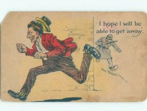 Pre-Linen Comic MAN BEING CHASED BY POLICE OFFICER AB8421