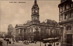 Melbourne Australia Town Hall c1910 Postcard