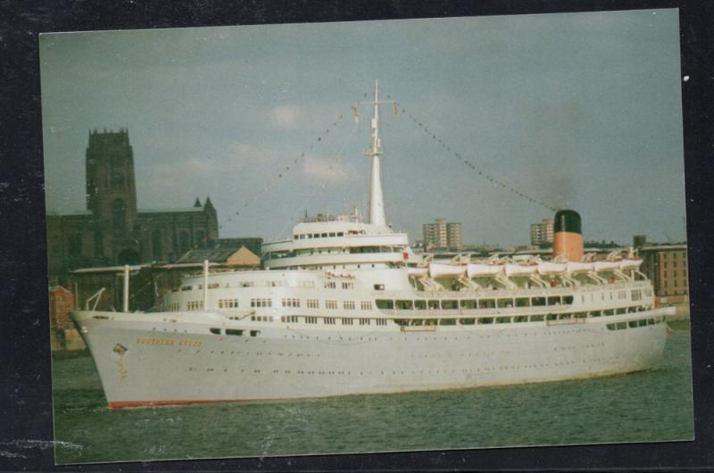 Ship Southern Cross leaving Liverpool 1971 colour card  unused