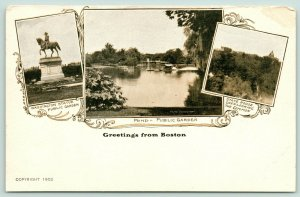 Boston Massachusetts~Public Garden~Washington Statue~Pond~State House~c1905