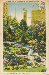 Rockefeller Center Postcard New York NY Rock Garden Tinted