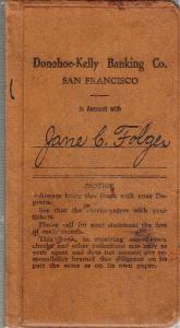 Jane Folger's Bank Book 1925-1930 Donohoe-Kelly Bank SF