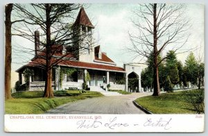Evansville Indiana~Oak Hill Cemetery~Tombstones~Drive By Chapel~1905 Postcard