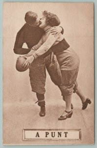 Football Romance~A Punt~Lovely Lady Stopped By Player For Kiss~Holds onto Ball