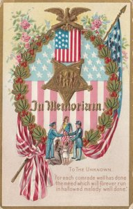 In Memoriam,  Poem To The Unknown U. S. Flag, Headdress, Soldiers, PU-1911