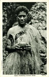 fiji islands, Native Fijian presenting Coconut Drink (1930s)