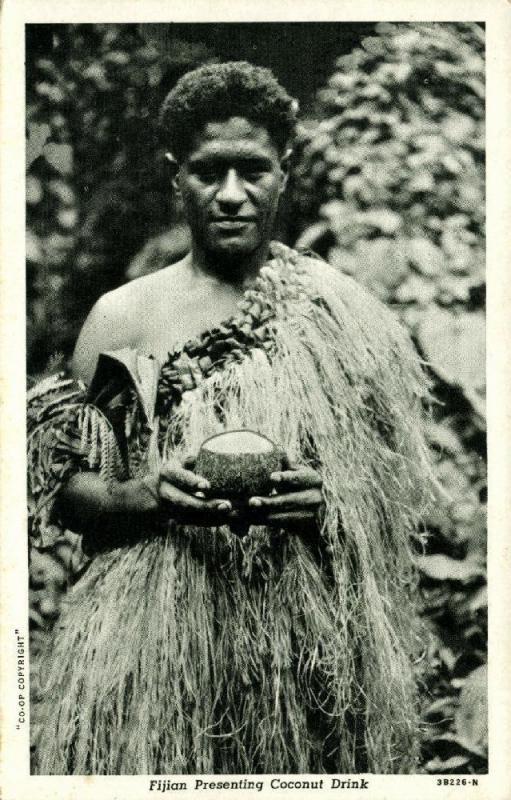 fiji islands, Native Fijian presenting Coconut Drink (1930s)