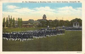 Annapolis Maryland 1946 Postcard Midshipmen In Marching Order US Naval Academy